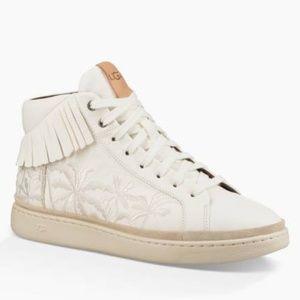 UGG Cali White High Top Fringe Palm Sneakers NWOB